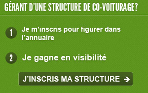 Grant d'une structure de co-voiturage, inscrivez vous
