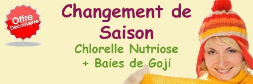 Offre Découverte Chlorelle Nutriose et Goji - Changement de Saison