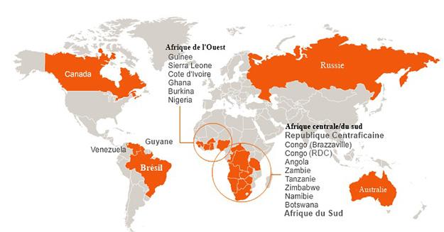 Carte des pays où l'exploitation des diamants crée des conflits