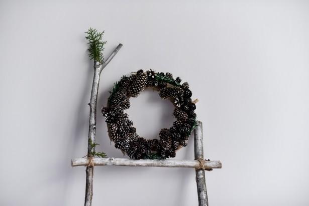 couronne, DIY, Noël, décoration, pomme de pin
